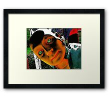 Hugo, Man of a Thousand Faces Hits the Acid Framed Print