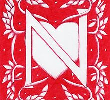 Red Heart Letter N by Donna Huntriss