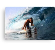 Surfer on a clean left barrel Canvas Print
