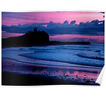 Indigo Dawn - Nobbys Breakwall and Lighthouse Poster