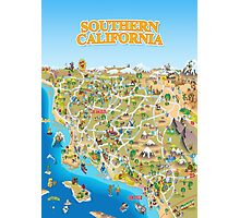 Cartoon Map of Southern California Photographic Print