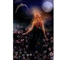 The dark night glows, the moon light flows. Photographic Print