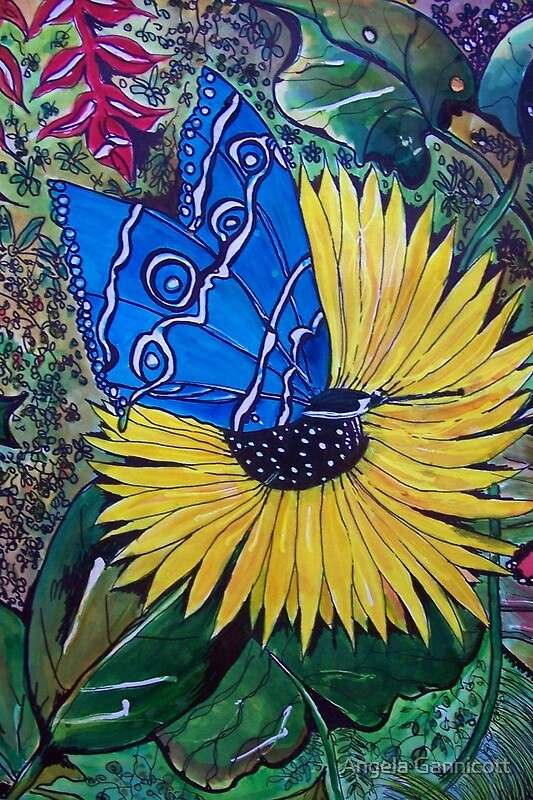 """""""Blue Butterfly and Sunflower"""" by Angela Gannicott   Redbubble"""
