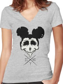 Dead Mouse (B&W) Women's Fitted V-Neck T-Shirt