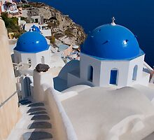 The Churches Of Oia by Mark Robson