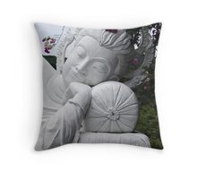 White Reclining Buddha Throw Pillow