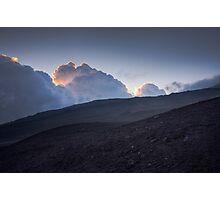 Blue sunset - Hills of volcano Etna Photographic Print