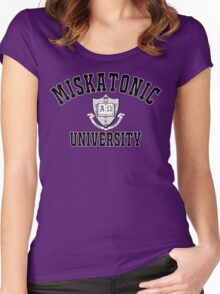 Miskatonic University Black & White Logo Women's Fitted Scoop T-Shirt
