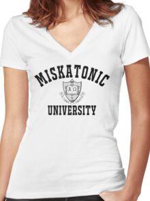 Miskatonic University Black & White Logo Women's Fitted V-Neck T-Shirt