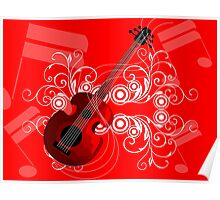 Digital image of a guitar. Poster