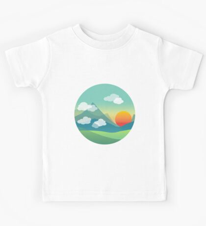 Sunset over the mountains Kids Tee