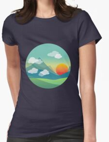 Sunset over the mountains Womens Fitted T-Shirt