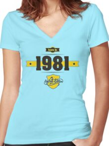 Born in 1981 (Choco&Yellow) Women's Fitted V-Neck T-Shirt