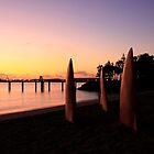 Fins in ocean sunrise - Townsville Australia by lynampics