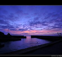 Purple and Blue Twilight over Charlestown Harbour in Cornwall England UK by Lord William Chard