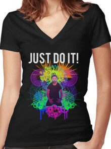 Shia Labeouf Epic JUST DO IT Women's Fitted V-Neck T-Shirt