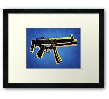 MP5 Sub Machine Gun on Blue Framed Print
