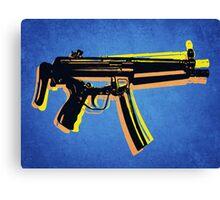 MP5 Sub Machine Gun on Blue Canvas Print