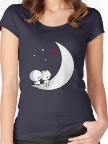 Sitting on the moon Women's Fitted Scoop T-Shirt