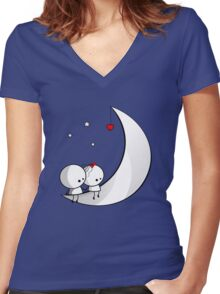 Sitting on the moon Women's Fitted V-Neck T-Shirt