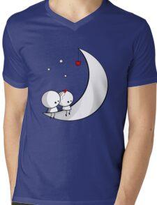 Sitting on the moon Mens V-Neck T-Shirt