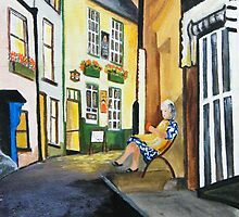 Seat in the Street at Robin Hoods Bay North Yorkshire by allwyn
