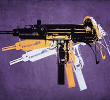 Uzi Sub Machine Gun on Purple by ArtPrints