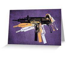 Uzi Sub Machine Gun on Purple Greeting Card