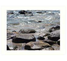 Rocks and water. Myponga Beach Art Print