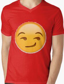 Smirking Emoji Mens V-Neck T-Shirt