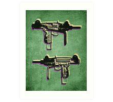 Mini Uzi Sub Machine Gun on Green Art Print