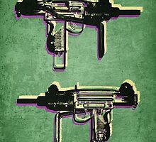 Mini Uzi Sub Machine Gun on Green by Michael Tompsett