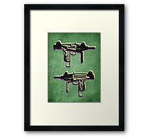 Mini Uzi Sub Machine Gun on Green Framed Print