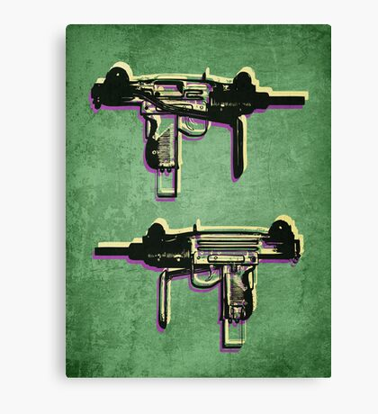 Mini Uzi Sub Machine Gun on Green Canvas Print