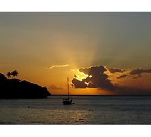 Sunset at Flying Fish Cove  Photographic Print