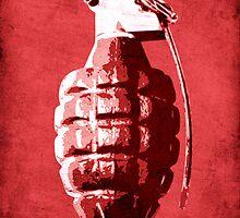 Hand Grenade on Red by Michael Tompsett