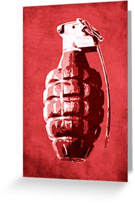 Hand Grenade on Red by Michael Tompsett