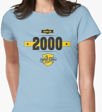 Born in 2000 (Choco&Yellow) Womens Fitted T-Shirt