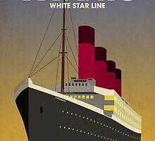 Titanic Ocean Liner Art Deco Print by Michael Tompsett