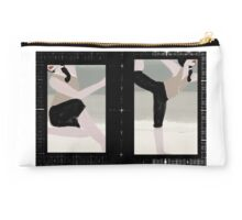 Yoga Girls on Textured Plaid Studio Pouch