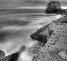 Portland Bill Seascape in Black and White HDR by Ian Middleton