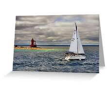 Round Island Light House (3) Greeting Card