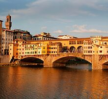 Bridge across the river Arno Florence by John Wallace