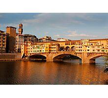 Bridge across the river Arno Florence Photographic Print