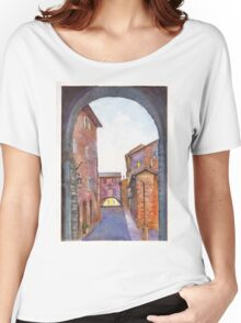 Assisi Street, Umbria, Italy Women's Relaxed Fit T-Shirt