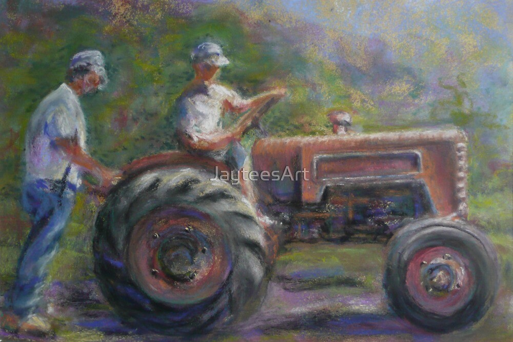 Two with a Tractor by JayteesArt