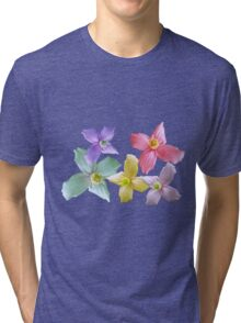 Gorgeous pink, yellow, purple, blue colorful flowers in black background Tri-blend T-Shirt