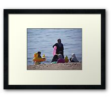 Muslim Women, Jordan Beach in Aqaba Framed Print