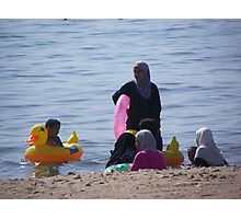 Muslim Women, Jordan Beach in Aqaba Photographic Print