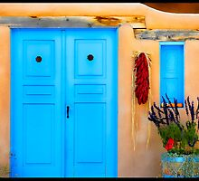 Blue Adobe Doors & Ristras by Karen Peron